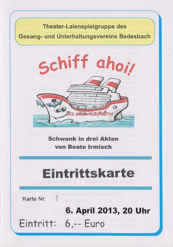 """Eintrittskarte zu """"Schiff ahoi!"""" - Schank in drei Akten von Beate Irmsch im Gasthaus Born"""